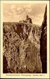 Karkonosze - schronisko Nad Śnieżnymi Kotłami widok na schr. i ścianę skalną kotła [Dokument ikonograficzny]