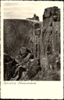 Karkonosze - urwiska skalne Śnieżnych Kotłów, na szczycie widoczne schronisko Nad Śnieżnymi Kotłami [Dokument ikonograficzny]