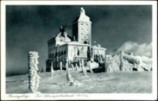 Karkonosze - schronisko Nad Śnieżnymi Kotłami zimą [Dokument ikonograficzny]