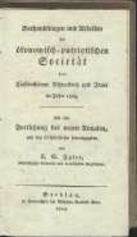 Verhandlungen und Arbeiten der vereinigten ökonomisch-patriotischen Societät der Fürstenthümer Schweidnitz und Jauer im Jahre 1823