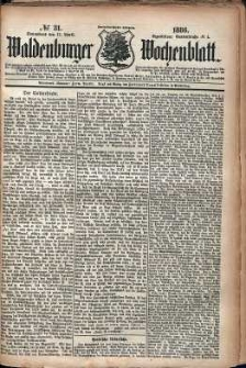 Waldenburger Wochenblatt, Jg. 32, 1886, nr 31