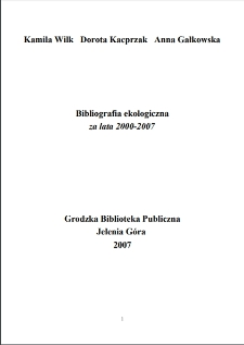 Bibliografia ekologiczna za lata 2000-2007
