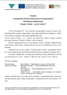"""Protokół z posiedzenia Komisji Konkursowej oceniającej praceVII Konkursu Plastycznego""""Rzepiór, Krabat - czy ich znacie?"""" [Dokument elektroniczny]"""